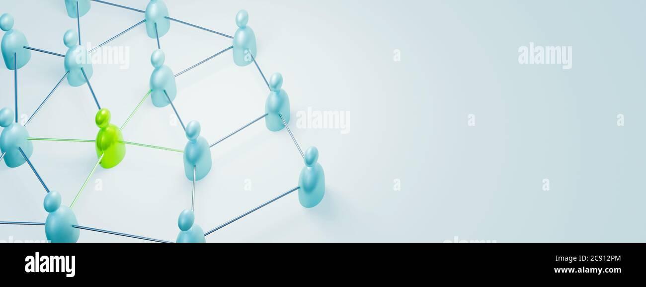 Rendu 3D de travail d'équipe, leadership, gestion et concept d'unicité Banque D'Images