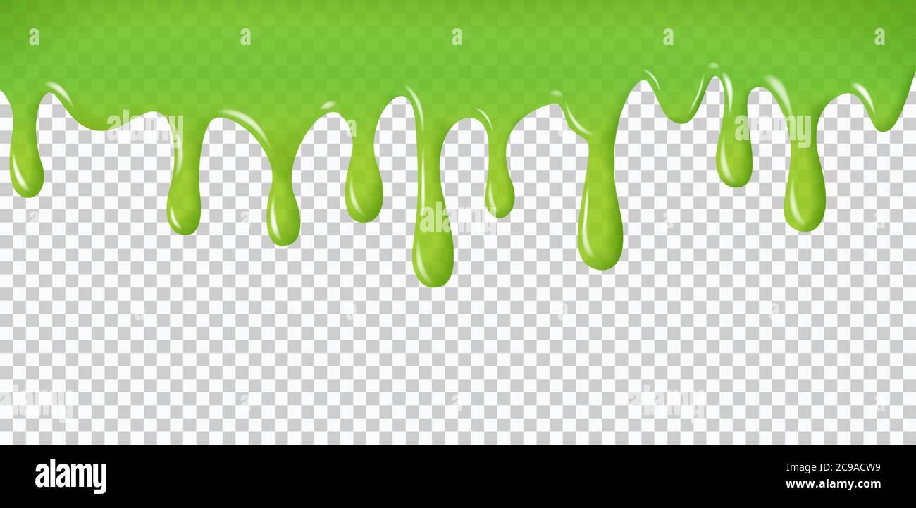 Gouttes d'eau réalistes. La peinture verte coule et coule. Éclaboussures radioactives liquide et blobs pour Halloween conception isolée sur fond transparent Illustration de Vecteur