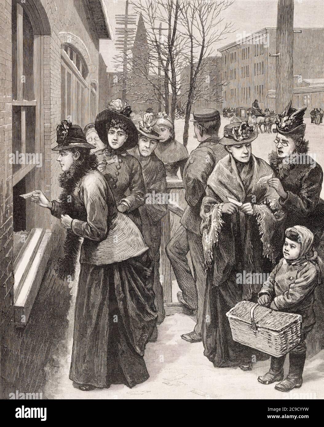 Les femmes votant aux urnes à Cheyenne, dans le territoire du Wyoming, aux États-Unis. Après une illustration d'un artiste inconnu dans l'édition du 24 novembre 1888 du journal illustré de Frank Leslie. En 1869, le Wyoming suffrage Act a été adopté et le Wyoming est devenu le premier territoire des États-Unis, ou État à garantir le plein suffrage à leurs femmes. Banque D'Images