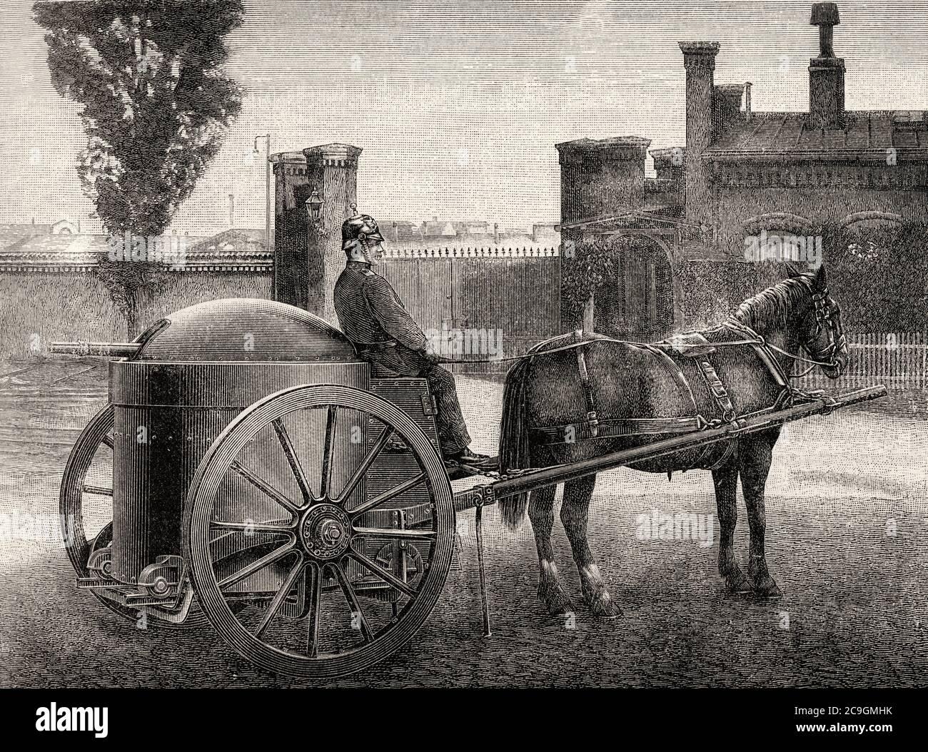 Transport d'une charriot métallique blindée armée d'un Krupp-Schuman de la fin du XIXe siècle. Illustration gravée de la Ilustracion Española y Americana datant du XIXe siècle 1890 Banque D'Images
