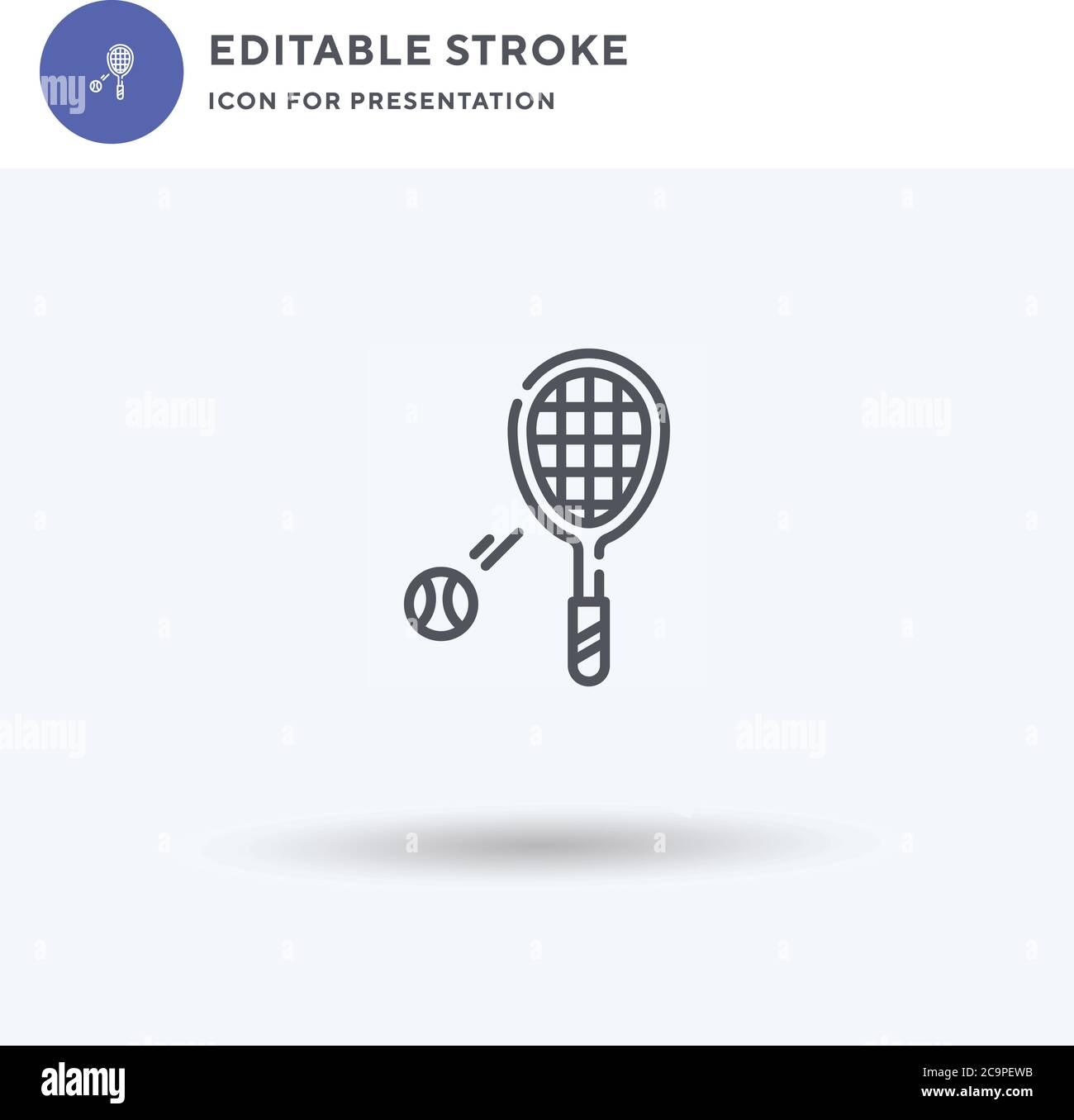 Symbole de tennis, signe plat rempli, pictogramme solide isolé sur blanc, illustration du logo. Icône de tennis pour la présentation. Illustration de Vecteur