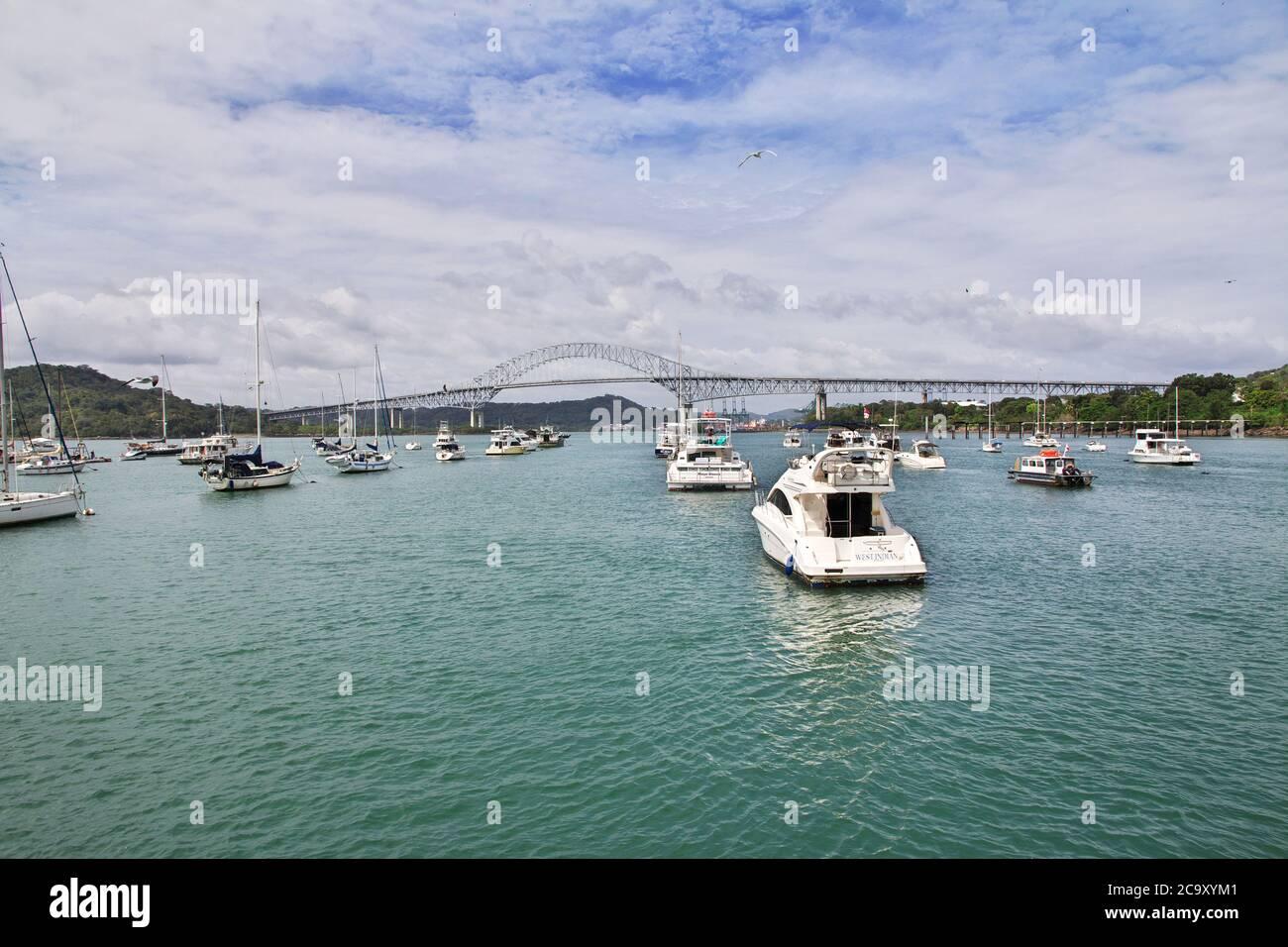 Pont des Amériques, canal de Panama, Amérique centrale Banque D'Images