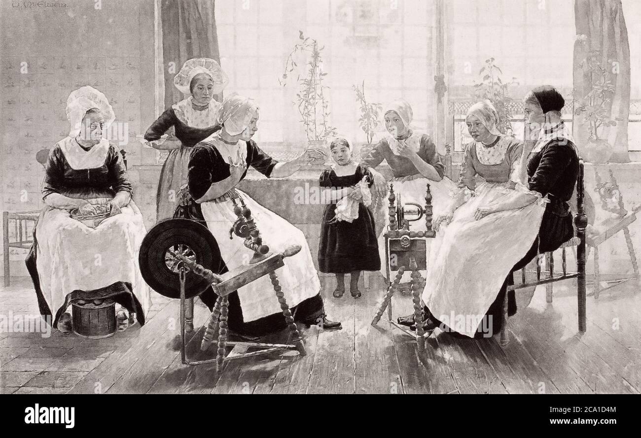 1890 photo d'une peinture de Walter McEwen en 1887, The Ghost Story – « cette image représente une maison paysanne prospère, où les femmes du h Banque D'Images