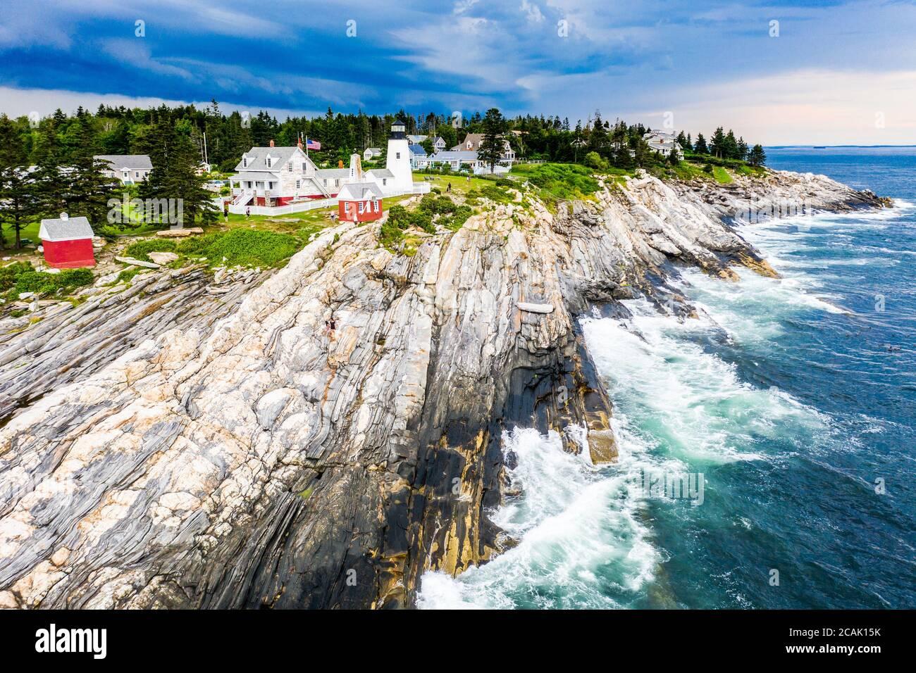 Pemaquid Point Lighthouse, Bristol, Maine, USA Banque D'Images