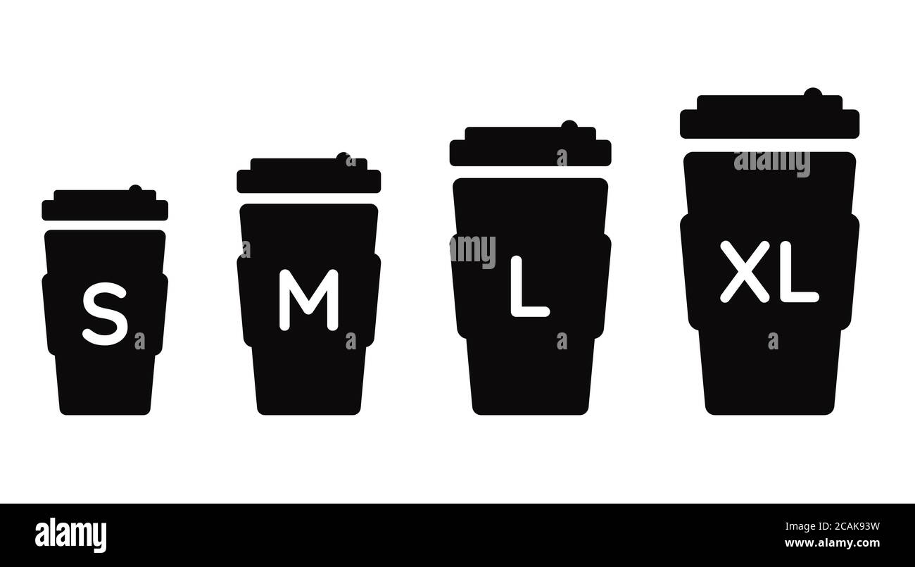 Tasse à café taille S M L XL. Différentes tailles : petite, moyenne, grande et très grande. Ensemble d'icônes de cafetière à vecteur noir Illustration de Vecteur
