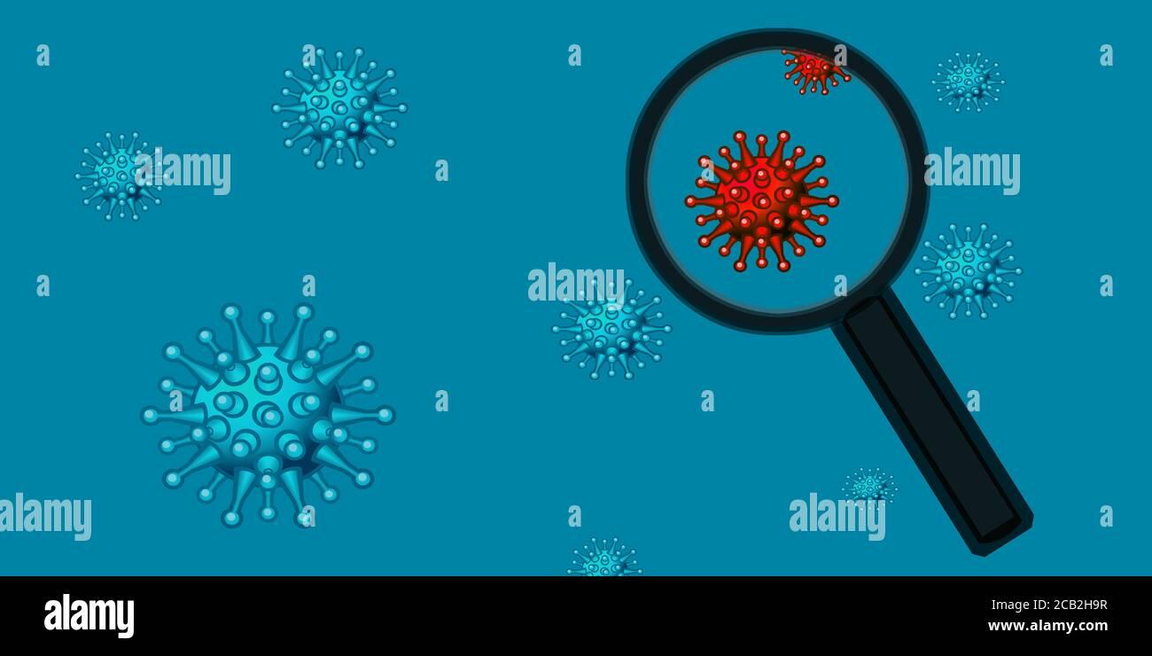 2019-ncov en boucle et recherche scientifique, concept, fond bleu illustration 3d du coronavirus, visualisation 3D du covid-19, Banque D'Images
