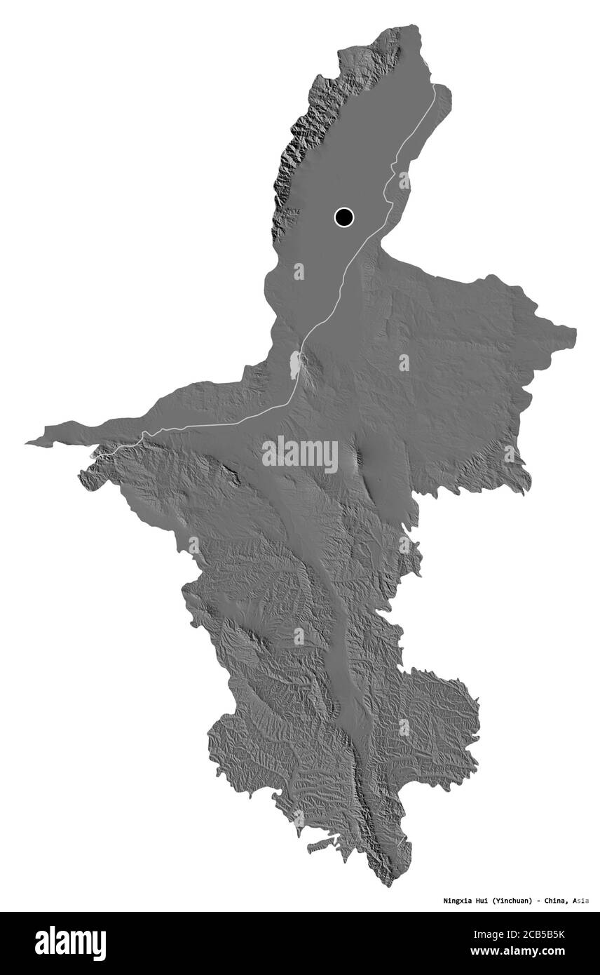 Forme de Ningxia hui, région autonome de Chine, avec sa capitale isolée sur fond blanc. Carte d'élévation à deux niveaux. Rendu 3D Banque D'Images