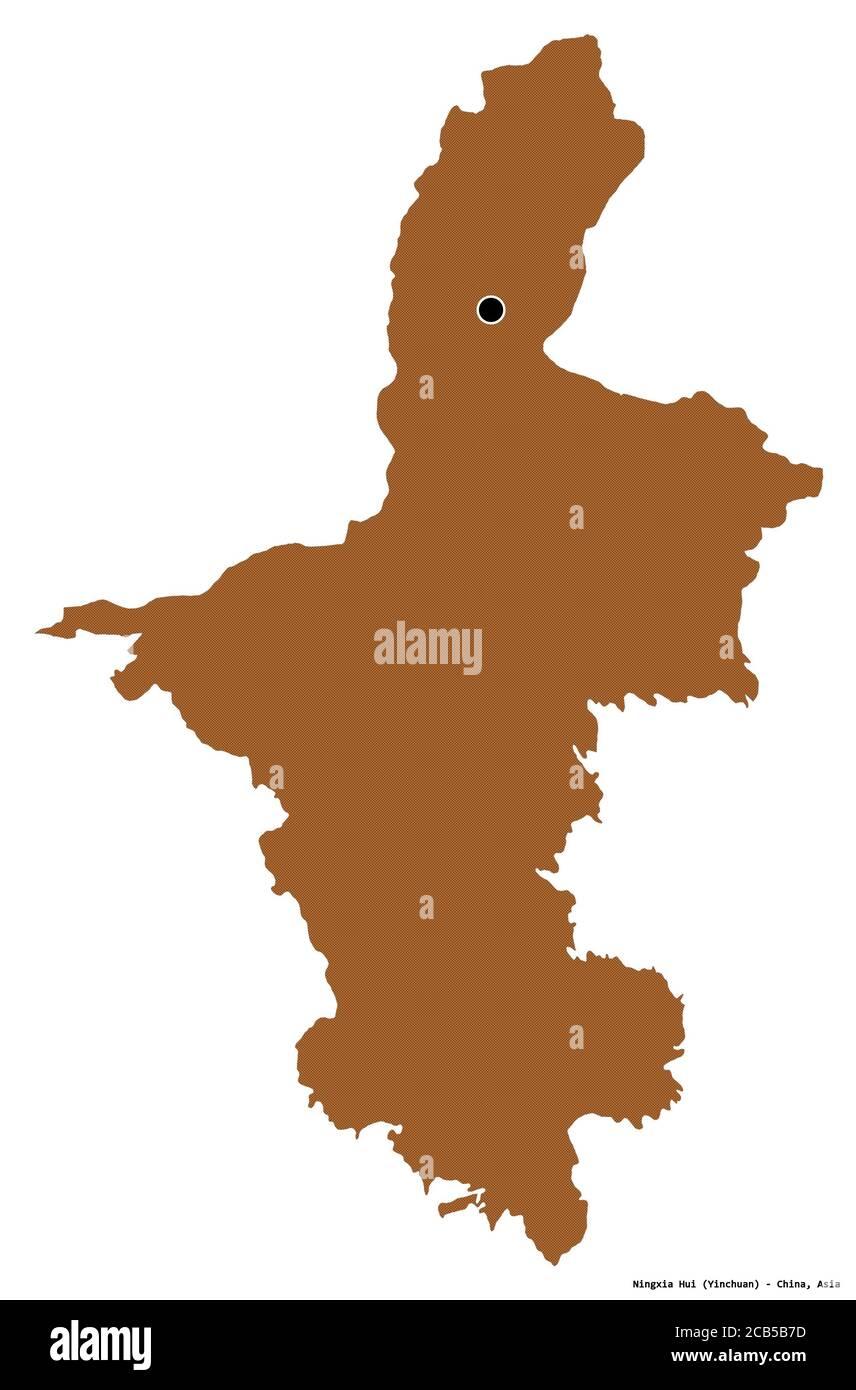 Forme de Ningxia hui, région autonome de Chine, avec sa capitale isolée sur fond blanc. Composition des textures répétées. Rendu 3D Banque D'Images