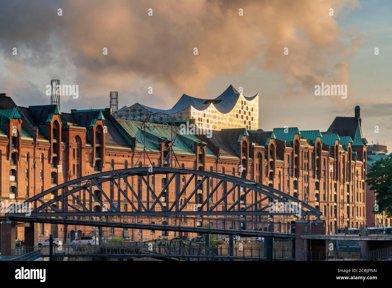 Speicherstadt Hamburg, Elbphilharmonie, HafenCity, Hambourg, Allemagne Banque D'Images