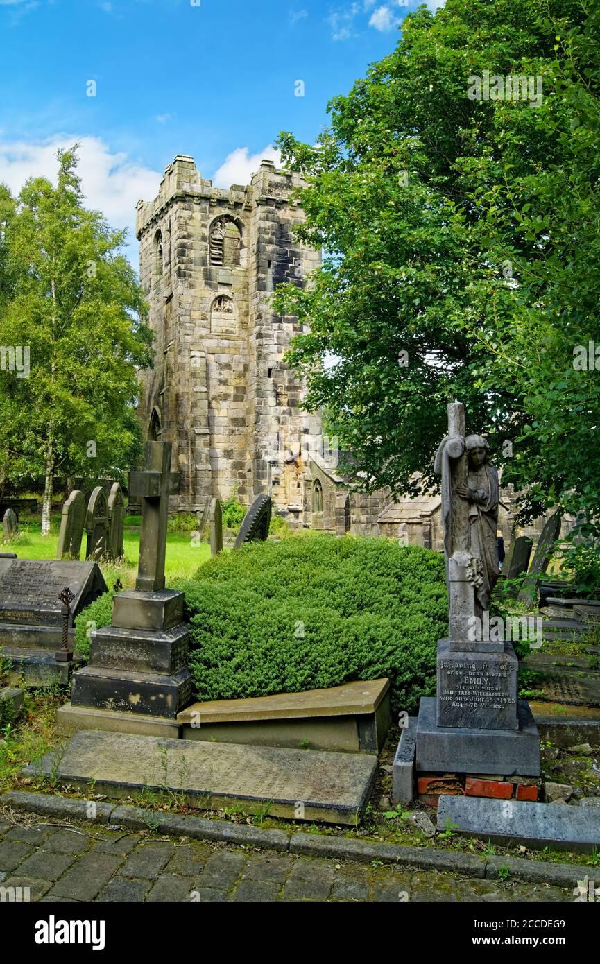 Royaume-Uni, Yorkshire de l'Ouest, Heptonstall, ruines de l'église de St Thomas a' Becket Banque D'Images