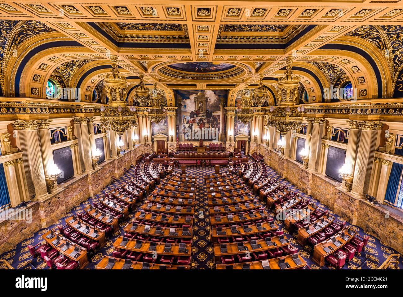 HARRISBURG, Pennsylvanie - 23 NOVEMBRE 2016: la chambre de la Chambre des représentants de l'Utah State Capitol. Banque D'Images