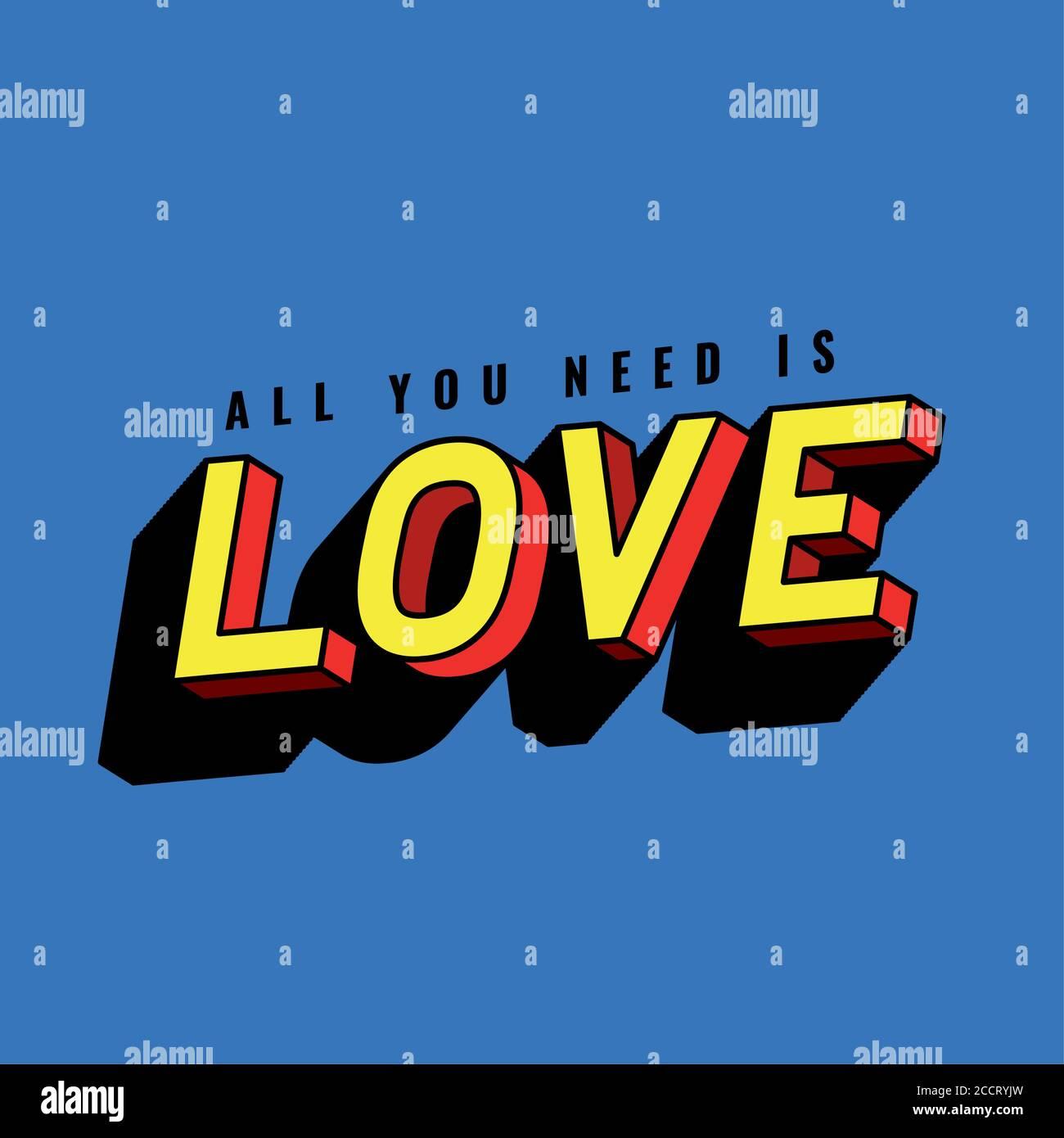 Tout ce dont vous avez besoin est le lettrage d'amour sur fond bleu, la typographie rétro et le thème de la bande dessinée illustration vectorielle Illustration de Vecteur