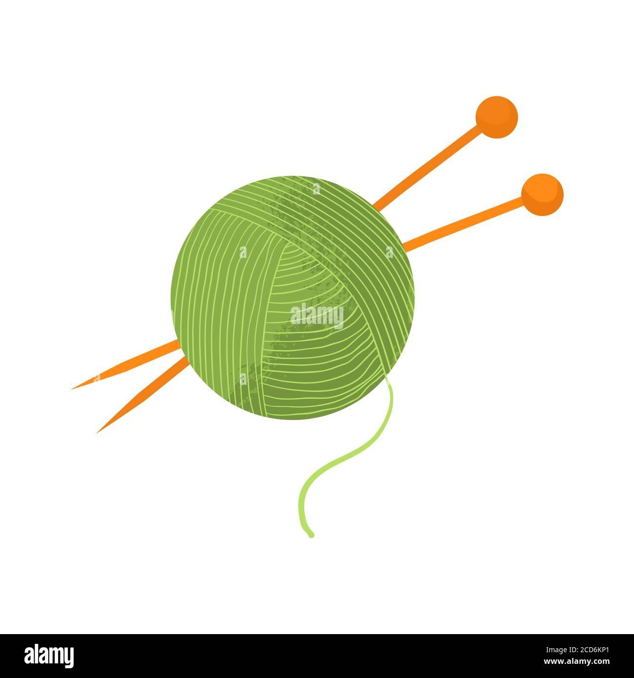 Boule de fil vert avec aiguilles à tricoter orange. Illustration vectorielle avec conception plate et texture, isolée sur fond blanc. Style dessins animés. Illustration de Vecteur