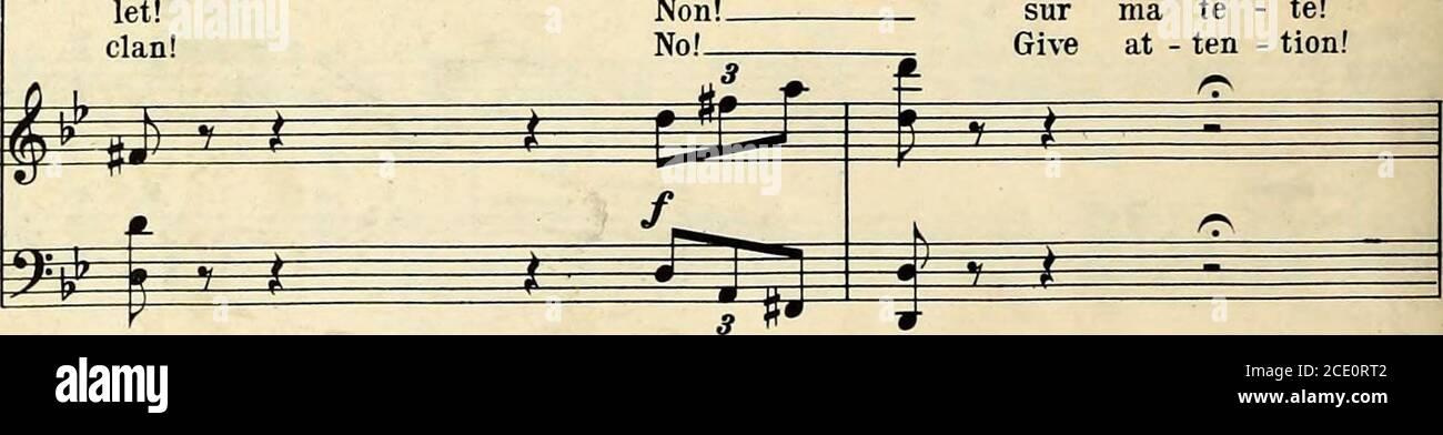 . Romeo et Juliette : opéra en cinq actes . Gertrude. ^5 ^ J) P ^ Â vous Mo - f[uez -vbus?jou est-il en jest? f i f ^ » non!non! Sur ma tè - te!donner à - dix - tion!. 13203 99 Allegro moderato. ^^^^VM^ P I n ff p M P ^ ^ un des mon-tai-gus sest per - mis de ve - nir a - vec ses a - sur ce ver - y nuit, nous avons vu UN mon - ta -gue avec mock-ing ^ J) ^ i ^ ^ ^ ^ ^ i> y ^ ^ P crefic. y-^^ 1) V i ^^ ^ ^ -j:j. f un Gertrude. Greg-orio. ^ £^^ ^ i Mor mis A notre fémien dans notre homme te! IJn Montai - gu ! Un Montai - gu! sion ! Cette nuit ? Cette nuit-là ! M ^ ^s M- mm r^^ si }i R 1 f 1 n 1^ Banque D'Images