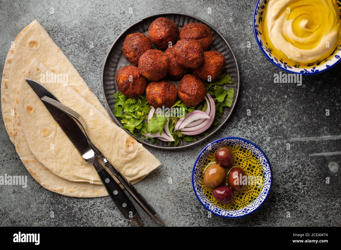 Falafel traditionnel du Moyen-Orient Banque D'Images