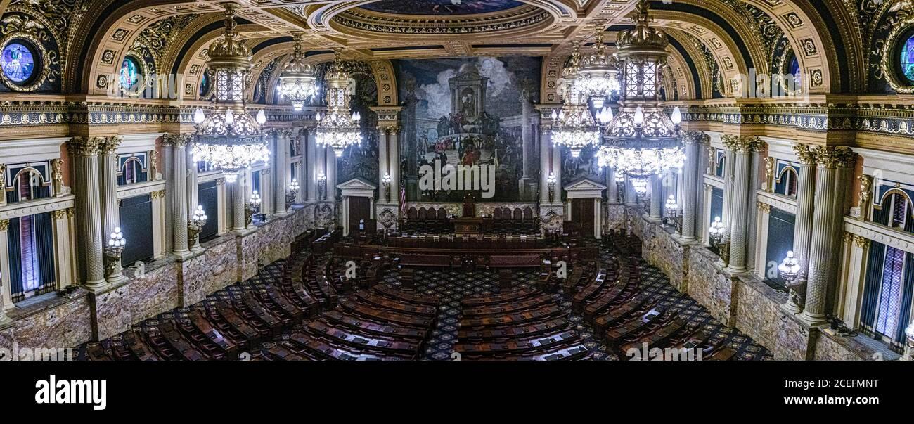 Vue de la Chambre des représentants, Capitole de l'État de Pennsylvanie Banque D'Images