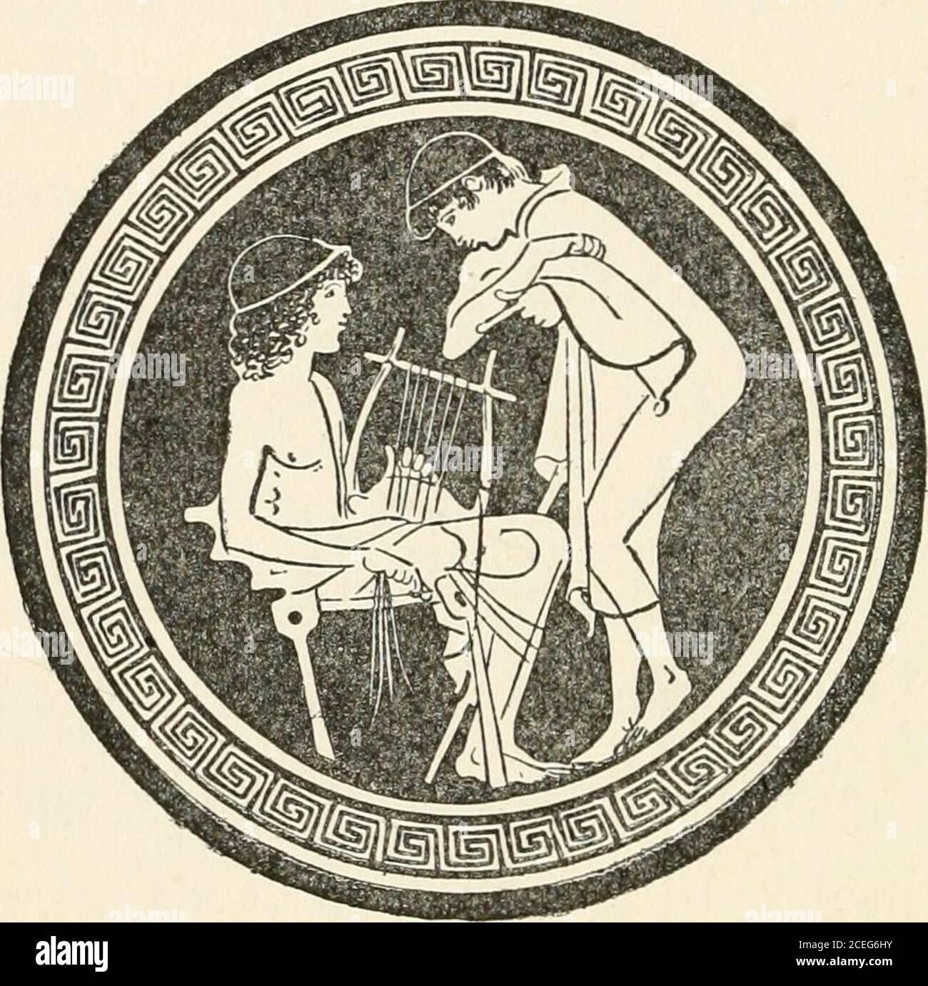 . Hommes de la vieille Grèce, par Jennie Hall. Ils ont fait le troop dans différentes chambres. Oh, c'était un grand jour pour Socrates! Rocmtcx C tout était neuf et magnifique. Je n'ai pas eu une chambre avec plusieurs autres petits bouées. Ils étaient assis sur de longs bancs de pierre autour des côtés de la chambre. Sur le mur hunglyres et tibas. Un jeune homme s'est assis sur une chaise à l'avant. Mene avait un lyre sur son genou.Prenez vos lyres, a dit le professeur. Eaeli garçon a pris une lyre du mur. Theplectrum accroché à lui par un ruban. Socra-tes n'avait jamais tenu une lyre avant, mais il hadsouvent vu d'autres personnes les jouer. Alors, il hésite sur son genou et Banque D'Images