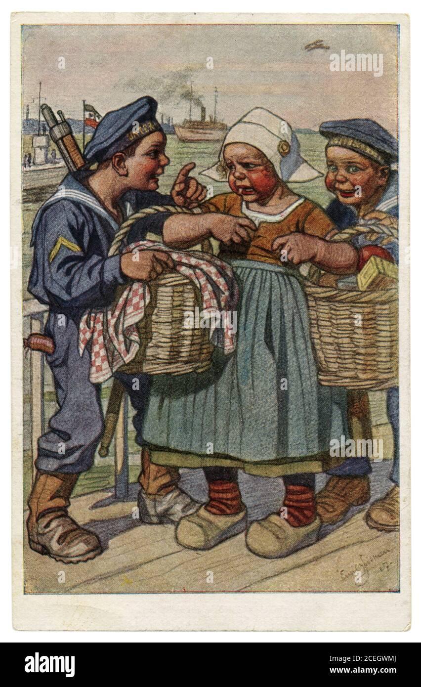 Carte postale historique allemande: Les enfants comme adultes: Marins de la Marine impériale allemande ont routé une fille plus sutler avec des paniers de nourriture, la première guerre mondiale, 1917 Banque D'Images
