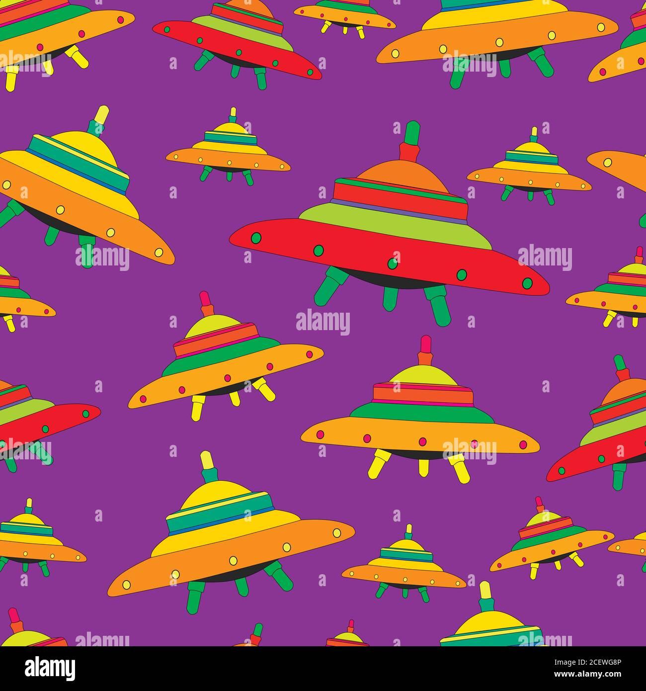 Soucoupes volantes, couleurs colorées, patter extraterrestre sans couture Illustration de Vecteur