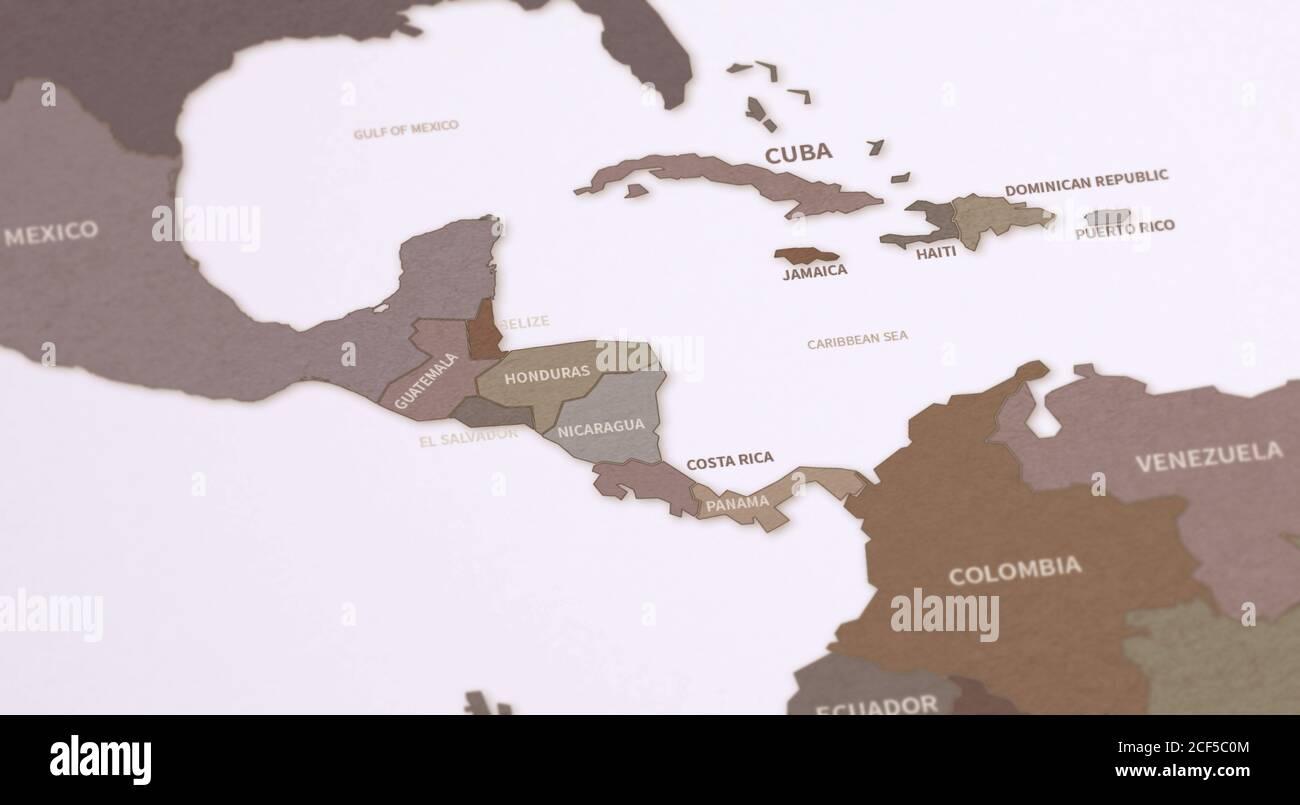 Carte des pays des Caraïbes. Rendu 3d de la carte Continental Vintage. Banque D'Images
