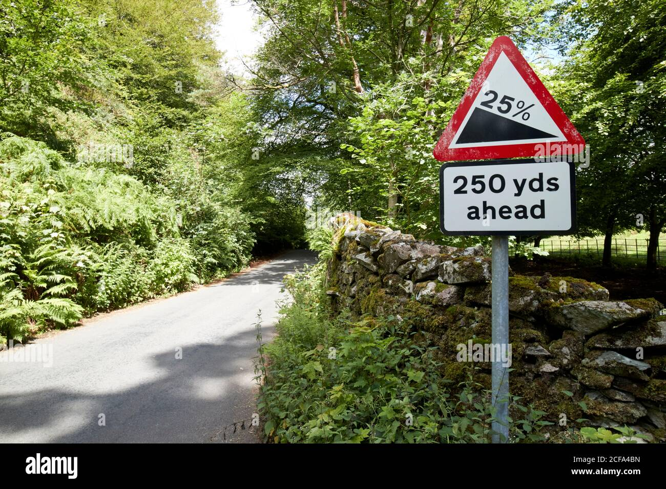 25 % de pente abrupte de la route devant le lac loughrigg de la rive rouge parc national de district cumbria angleterre royaume-uni Banque D'Images