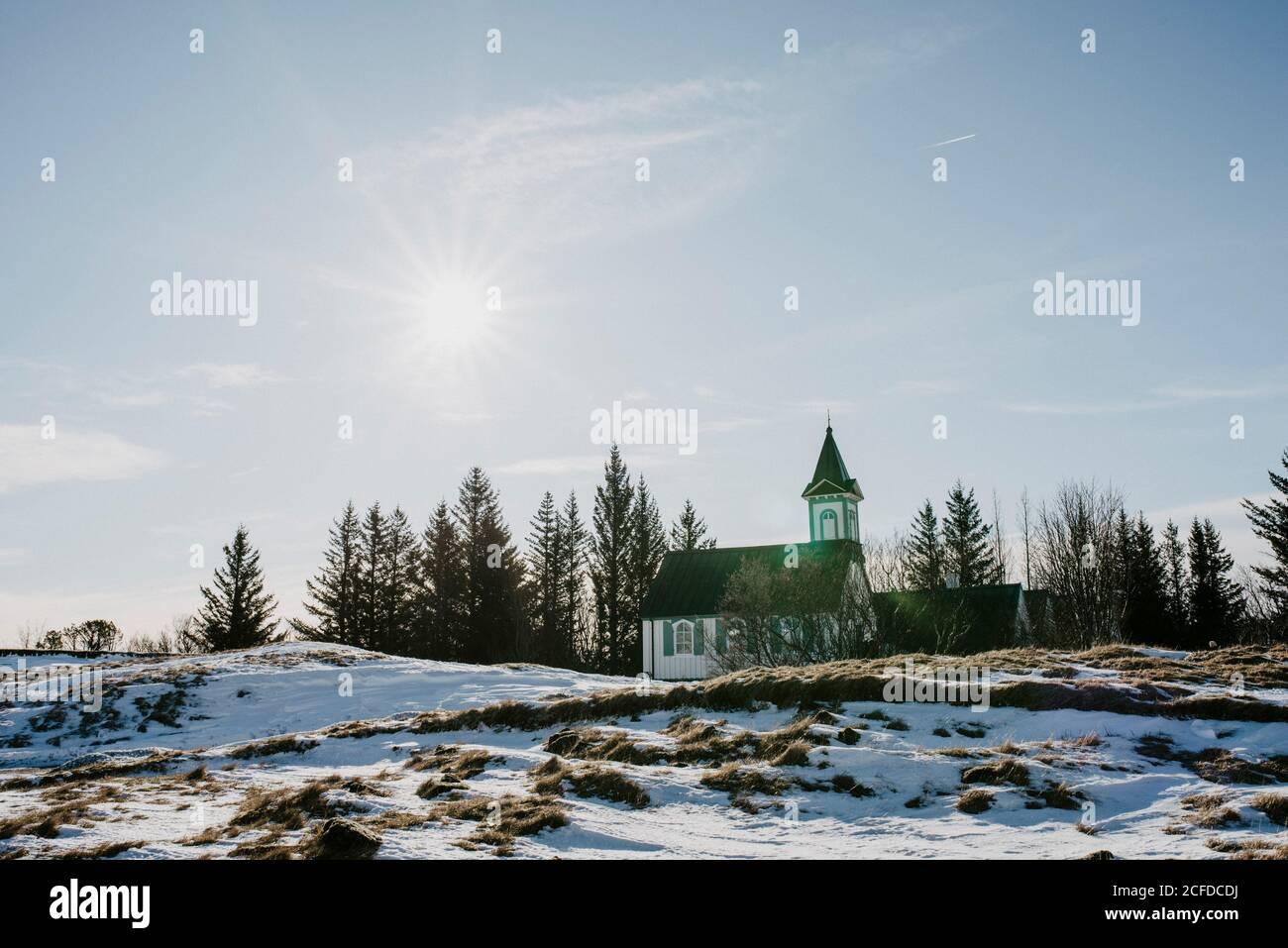 Église de Vallingvallakirkja, Parc national de Thingvellir, Islande en hiver Banque D'Images