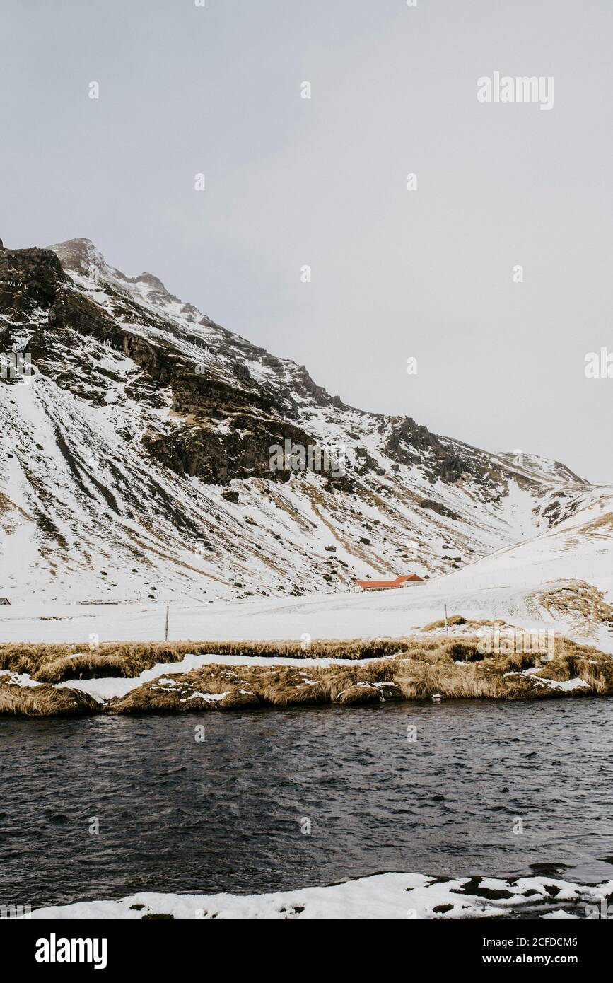 Paysage à Skógafoss en hiver, Islande Banque D'Images