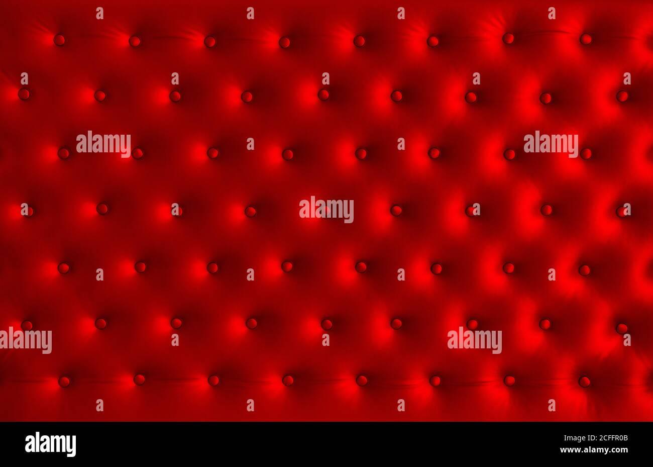 Texture soie rouge. Arrière-plan satiné avec boutons Banque D'Images