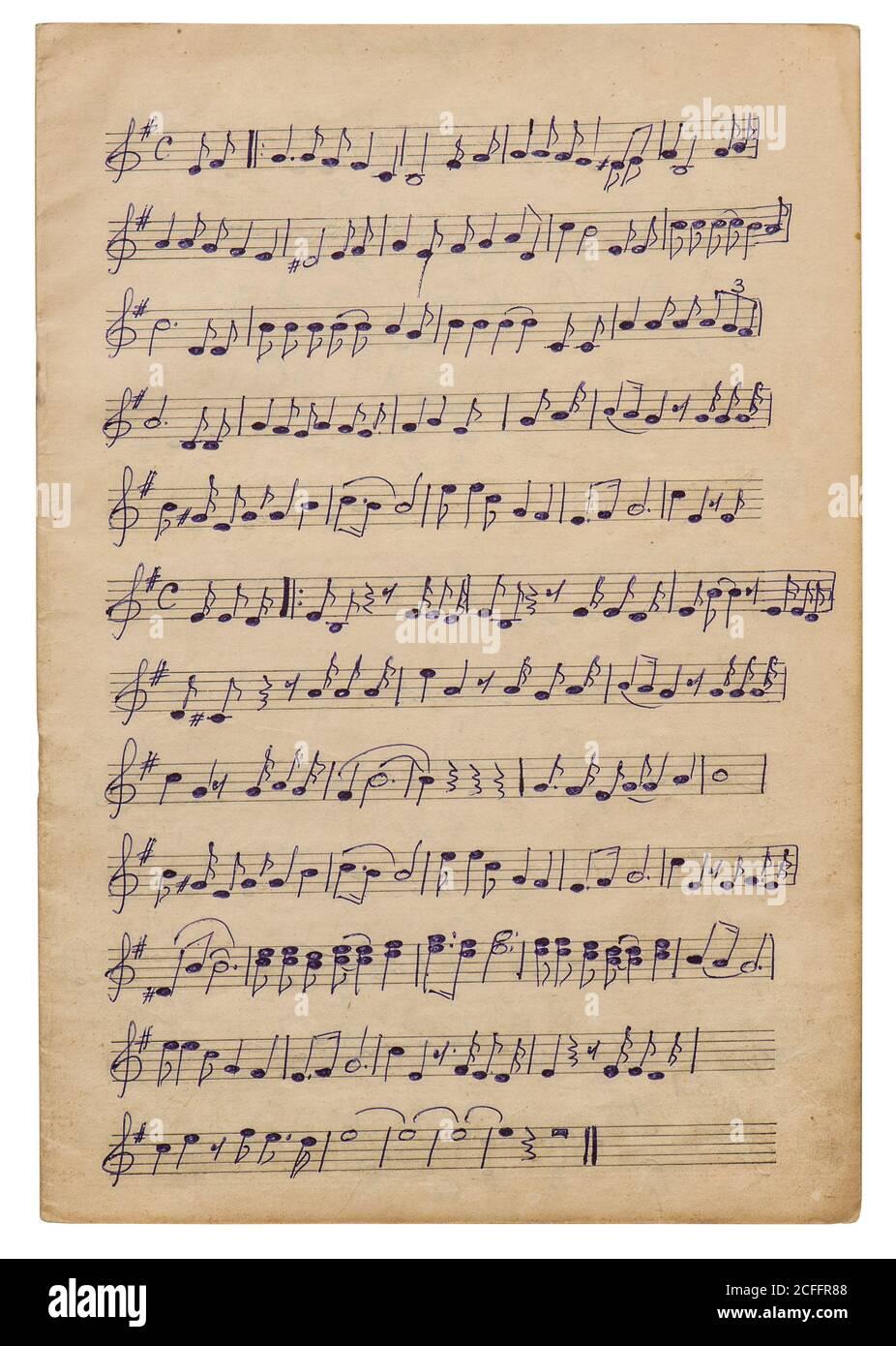 Feuille de papier avec notes de musique manuscrites. Arrière-plan de l'album, de la page découplée, de la superposition Banque D'Images