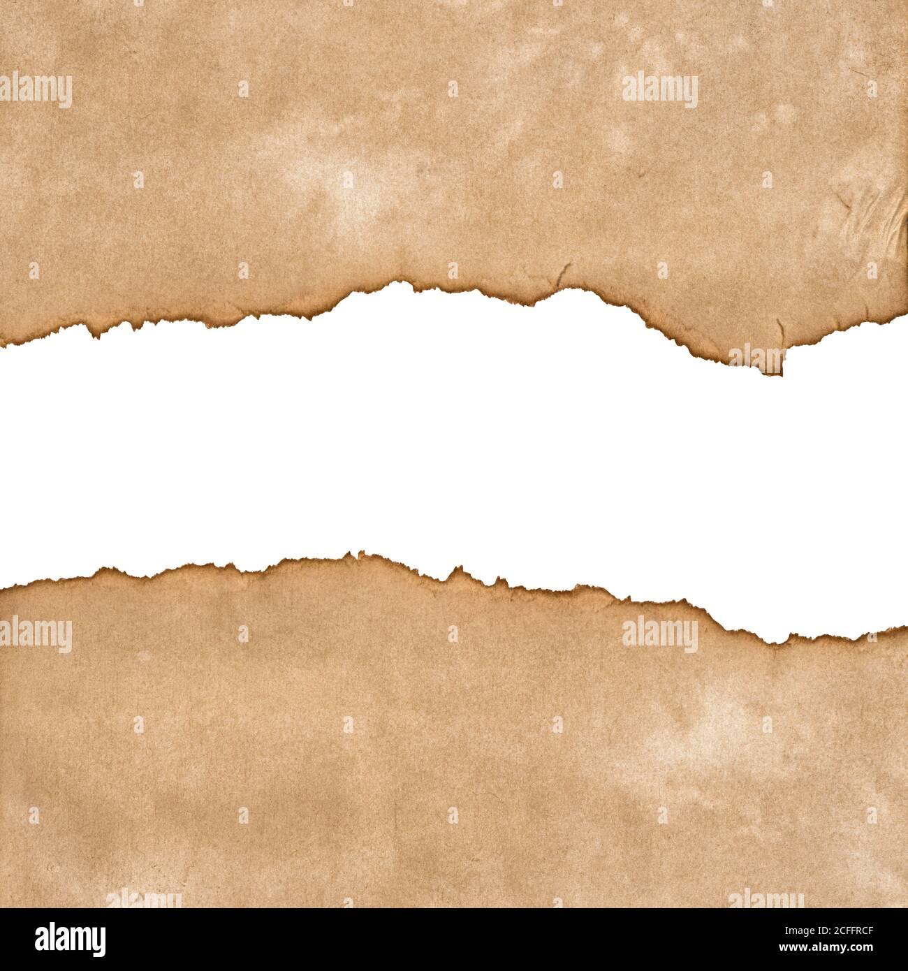 Papier déchiré bords déchirés. Pièces de carton utilisées isolées sur fond blanc Banque D'Images