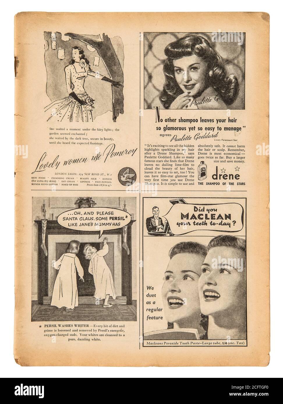 Page de journal avec texte anglais et images publicitaires vintage. Ancien magazine britannique de 1947 Banque D'Images