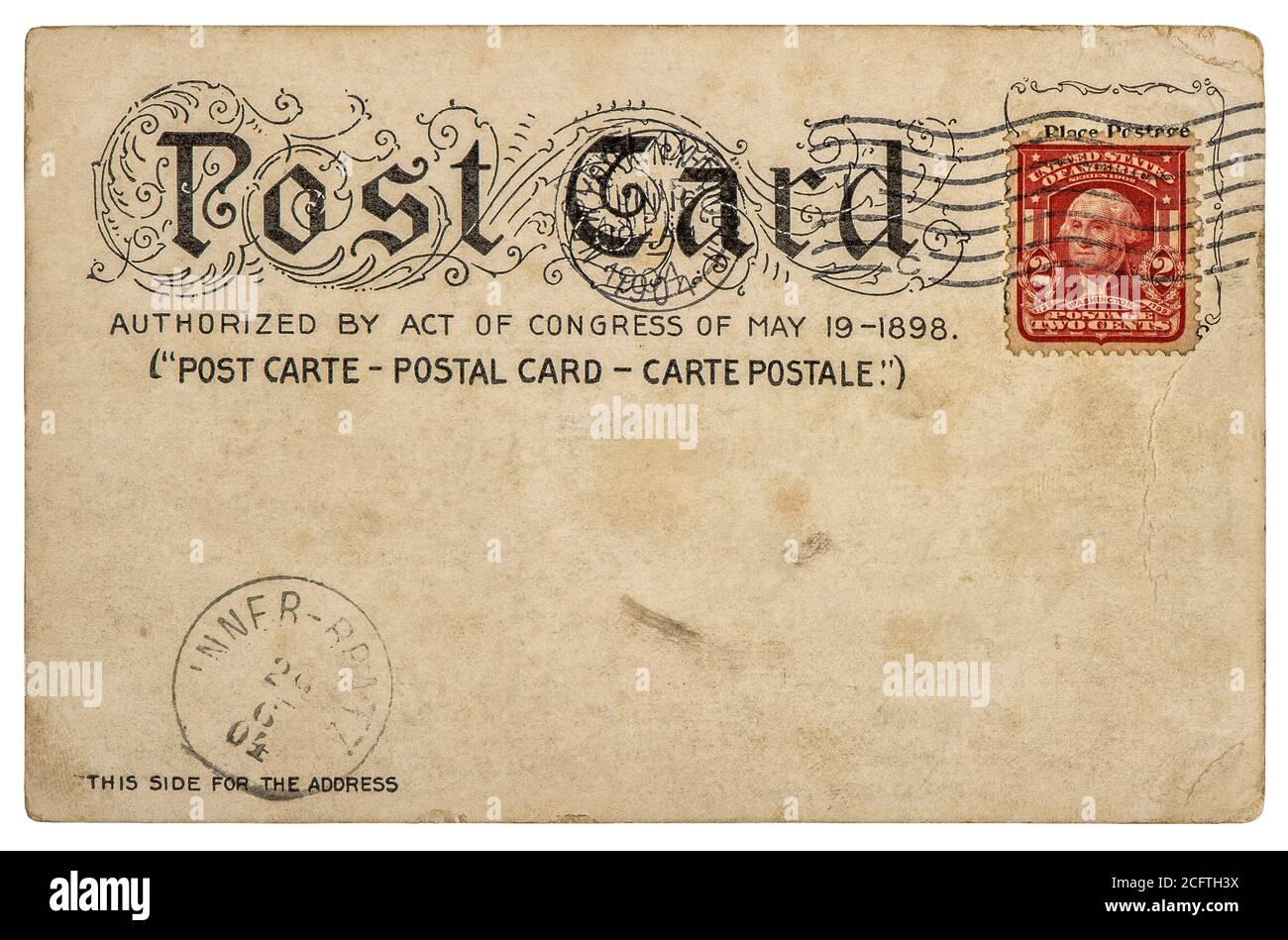 Fond de carte postale américaine vintage avec cachet postal. Papier vide pour le texte Banque D'Images