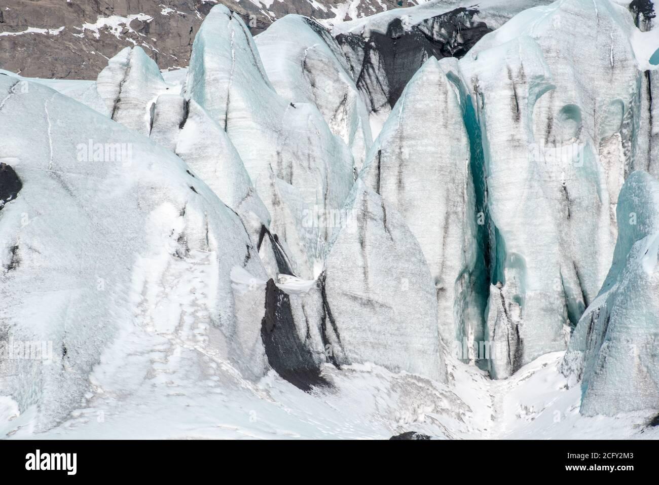 Glacier de Solheimajokull, sud de l'Islande Banque D'Images