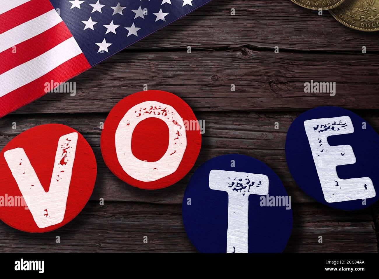 Symboles nationaux américains avec étiquettes vintage et lettres à coller Vote par mot Banque D'Images