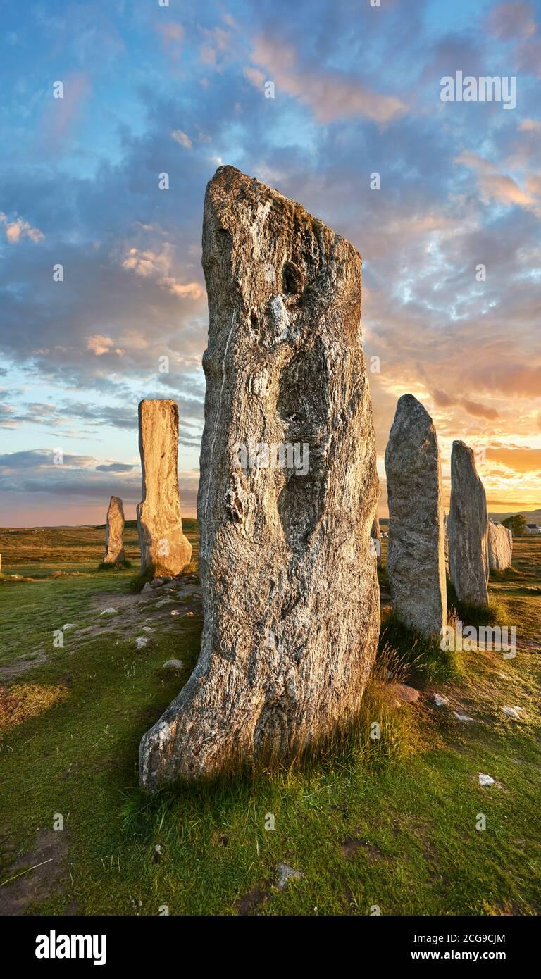 .Calanais Pierre sur pied néolithique (Tursachan Chalanais) , Île de Lewis, Hébrides extérieures, Écosse. Banque D'Images