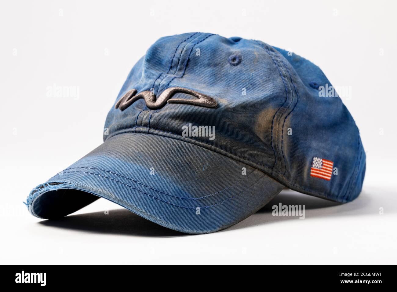 La vie en studio de vieux chapeau de base-ball usé et sale Banque D'Images