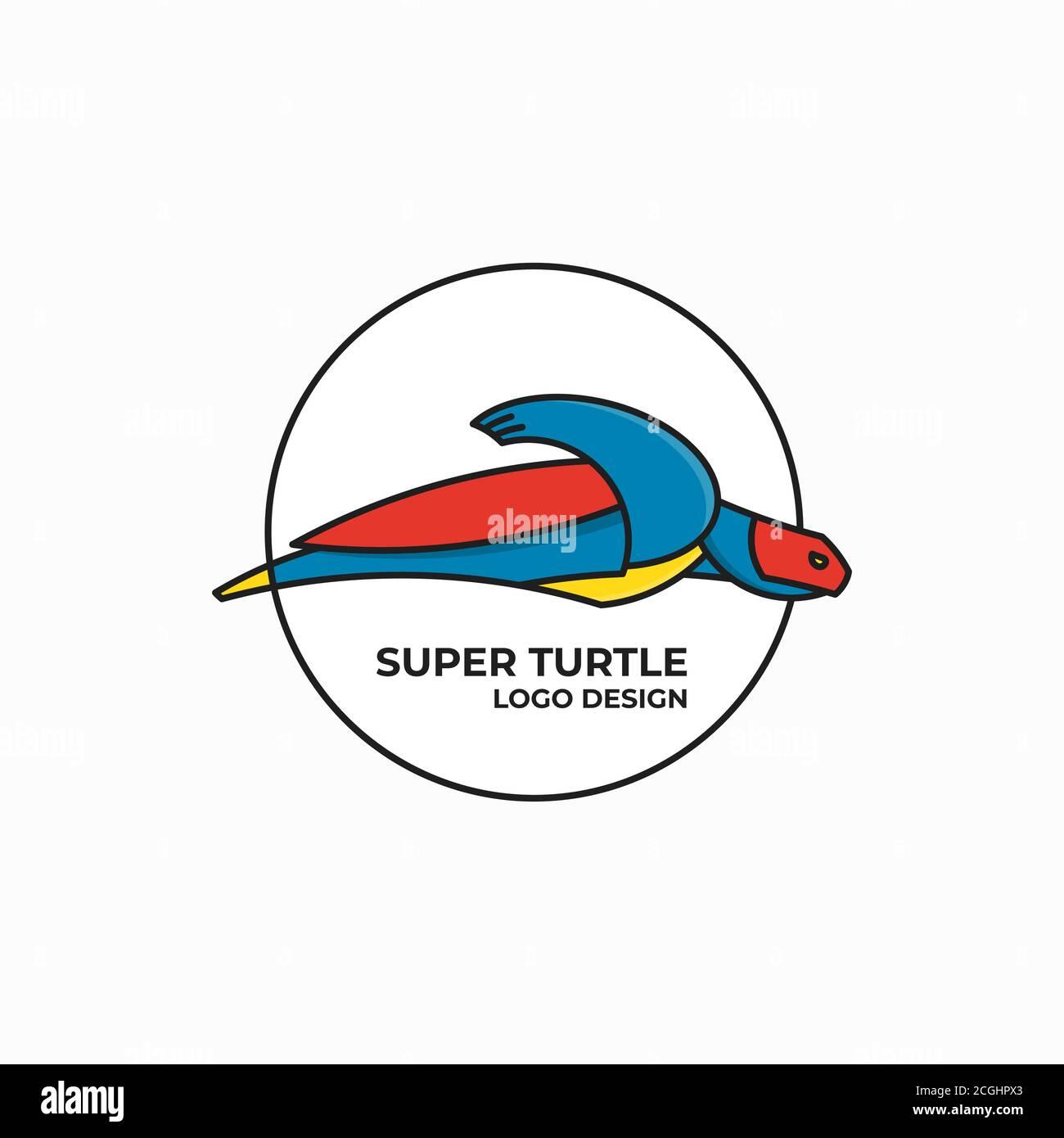 Modèle de logo Super Turtle Illustration de Vecteur