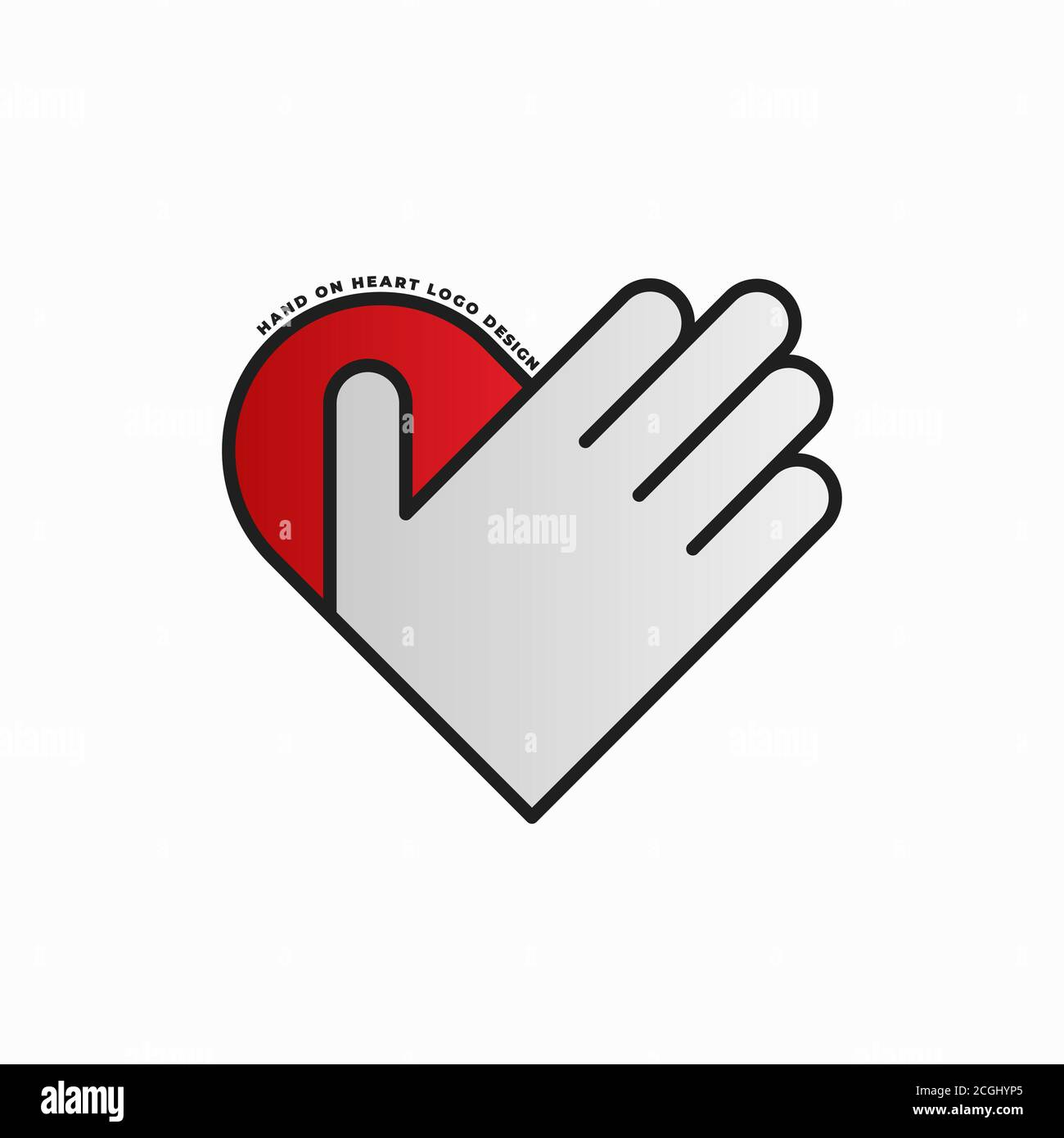 Modèle de conception du logo main sur coeur Illustration de Vecteur