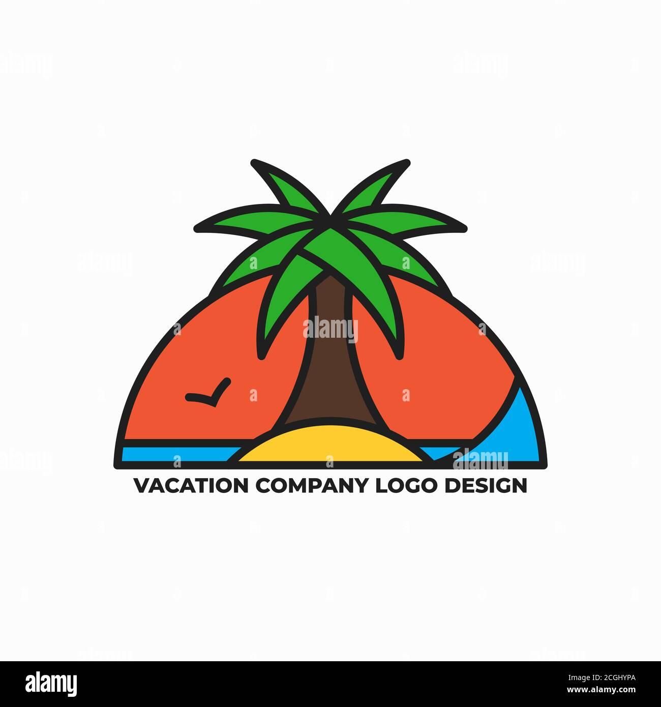 Modèle de conception du logo de la compagnie de vacances Illustration de Vecteur