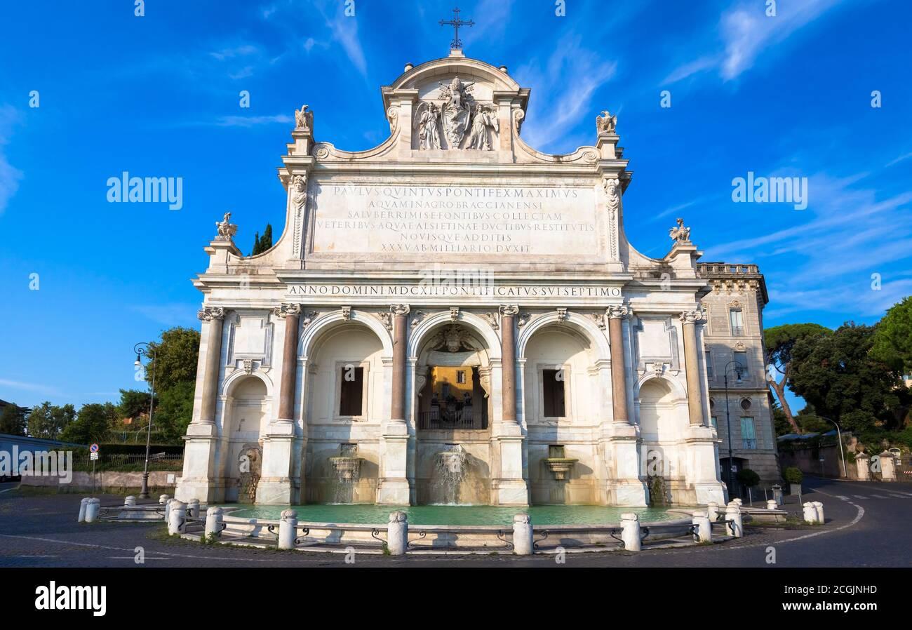 La Fontana dell'Acqua Paola a également connu comme il Fontanone ('la grande fontaine') est une fontaine monumentale située sur le mont Janicule à Rome. Banque D'Images