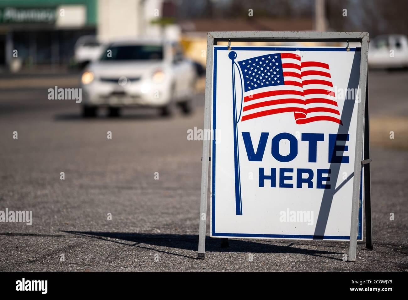 Votez ici dans un parking Banque D'Images