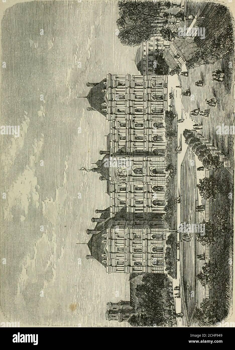 . Les merveilles du nouveau Paris-- . el desTuileries, et appartenant à Nicolas de Yilleroy, son secré-taire des Finances. Mais ce fut Catherine de Médicis qui, après avoir été mis en avant aux Tournelles, chargea Philibert Delorme et JeanBulant de lui bâtir un palais sur le terrain des tui=le rie s. Ce doit ensuite être le même de tous les roi de réunir les deuxpalais du Louvre et des Tuileries, au moyen de galeries pa-rallèdes et de les completer lun par lautre. Cousy mirent lamain sur des plans différents, et avec tant de lenteur, quirny eu ni de rigueur, ni symbolique. « Sire, disait Dufresny àLo Banque D'Images