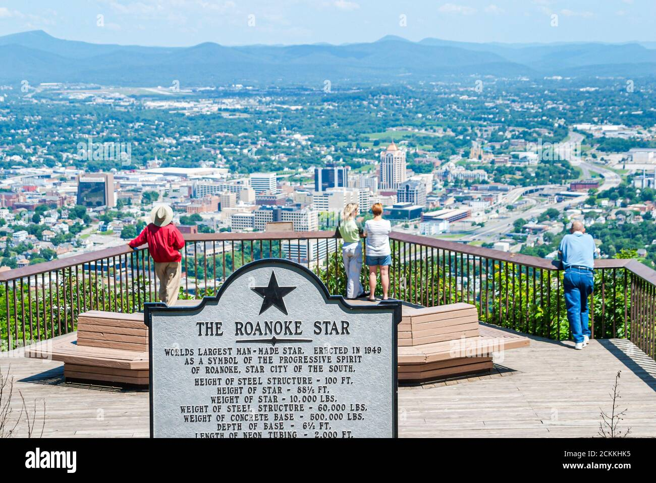 Virginia Appalachian Mountains Roanoke Mill Mountain Overlook, Star sign visiteurs, Banque D'Images