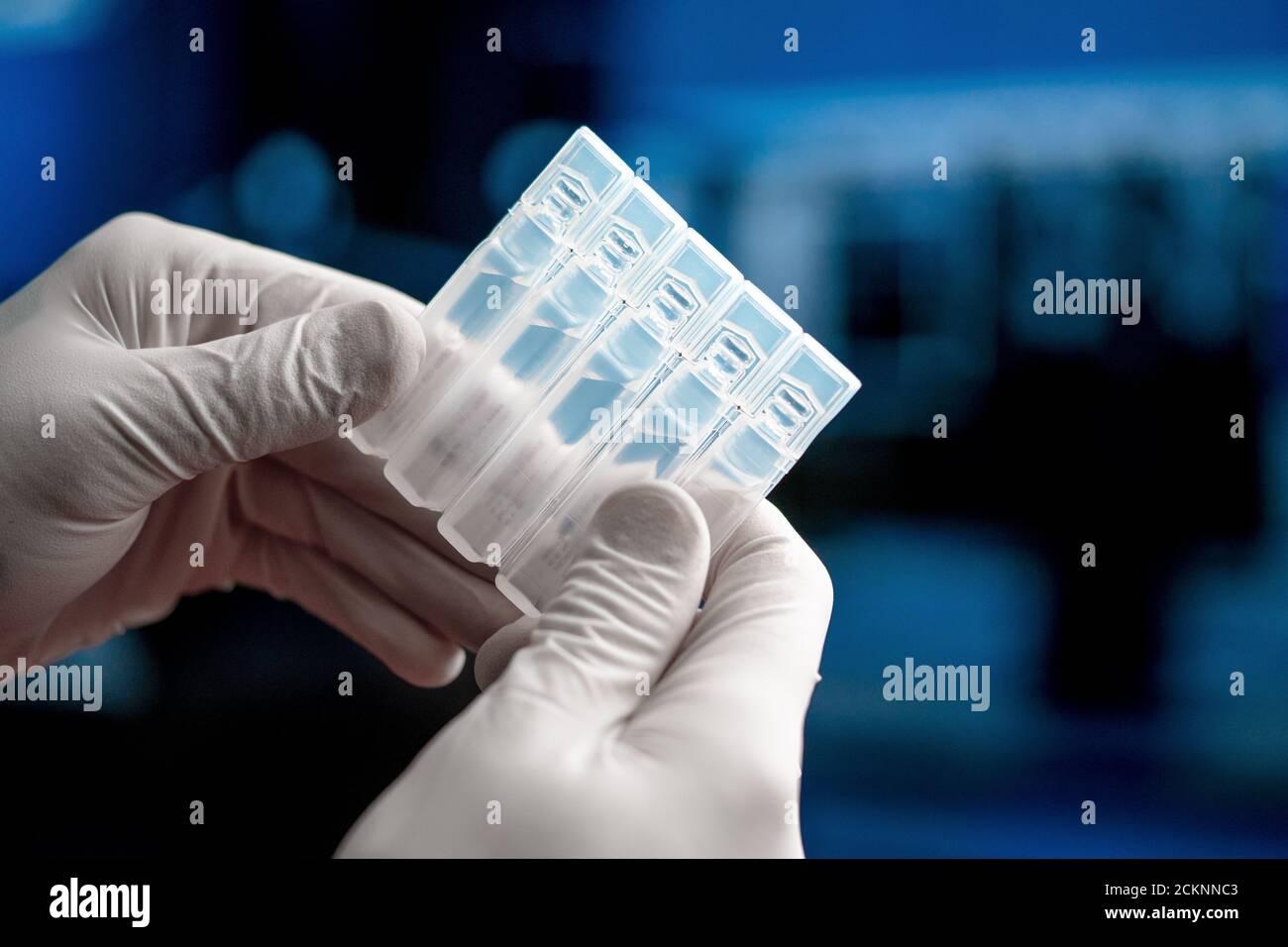 Médecin ou scientifique qui a un vaccin pour injection à partir du coronavirus du SRAS, 2019-nCoV. Recherche sur les vaccins et essai clinique en médecine. Prévention, Immuniza Banque D'Images