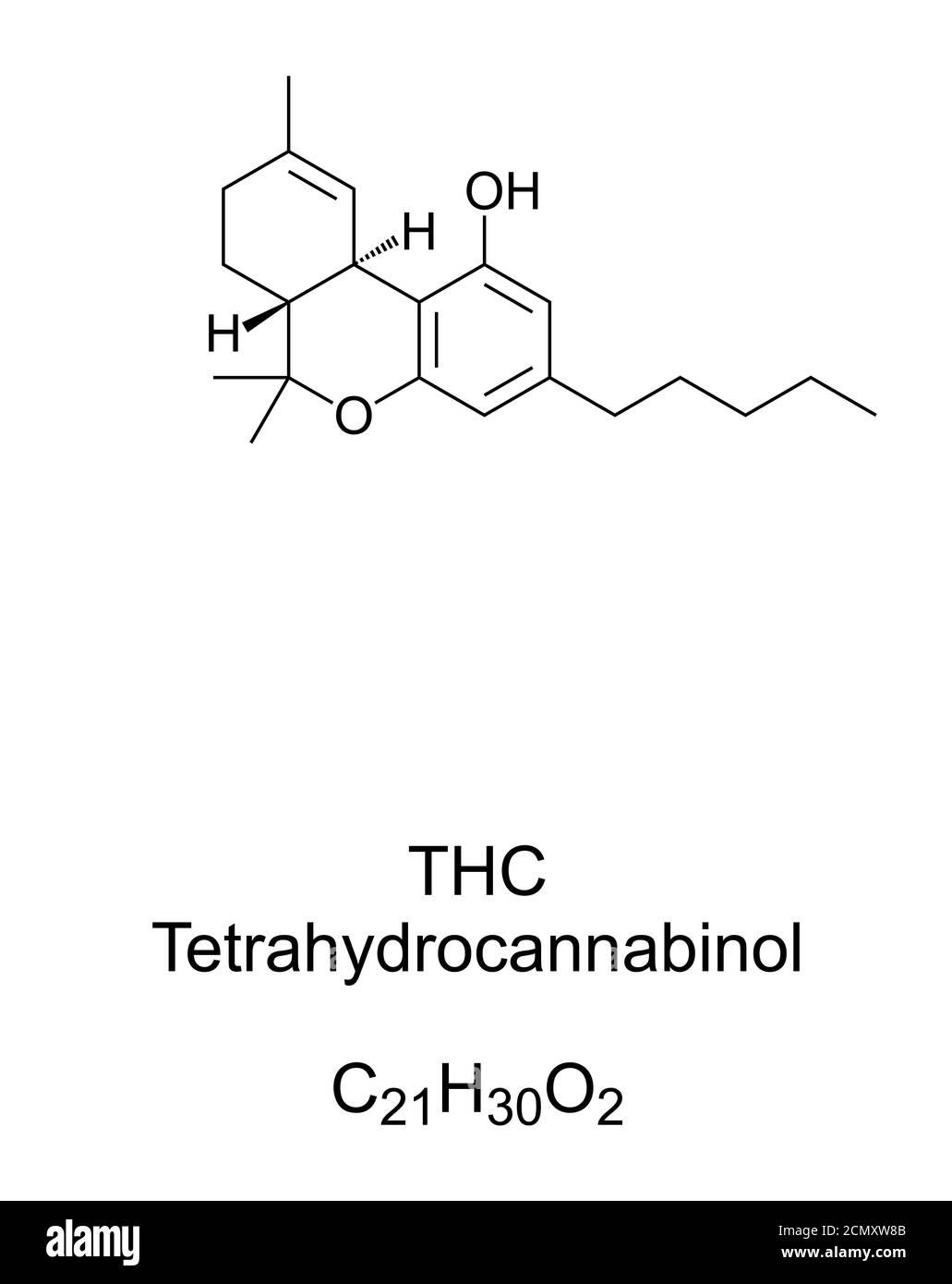 THC, tétrahydrocannabinol, structure chimique. Dronabinol, isomère du THC et constituant psychoactif principal et le plus actif trouvé dans le cannabis. Banque D'Images