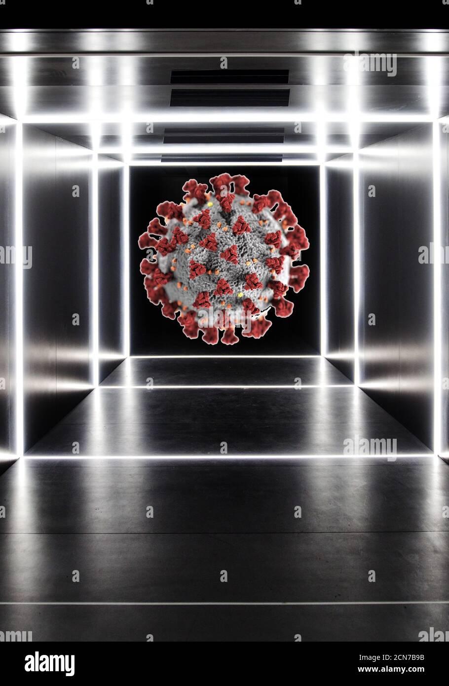 Montage photo, chemin vers le coronavirus, Allemagne Banque D'Images