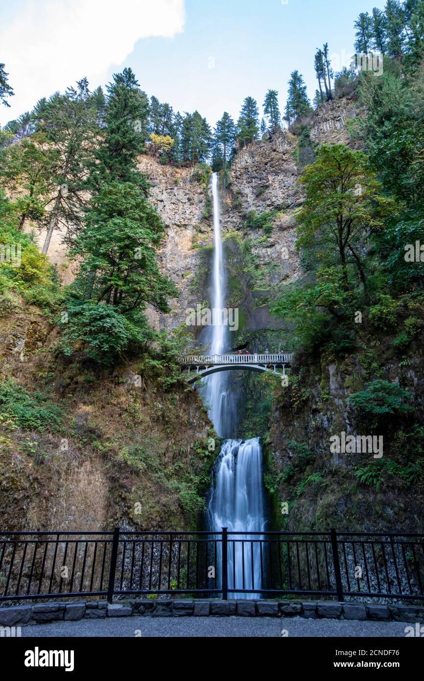 Multnomah Falls, la plus haute chute d'eau de l'État de l'Oregon à 620 pieds de hauteur, gorge de la rivière Columbia, Oregon, États-Unis d'Amérique Banque D'Images