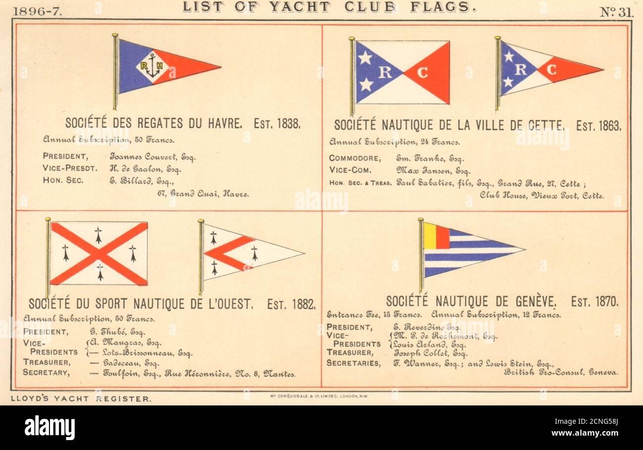 DRAPEAUX DU YACHT ET DU CLUB DE VOILE. Société nautique cette l'Ouest Genève du Havre 1896 Banque D'Images