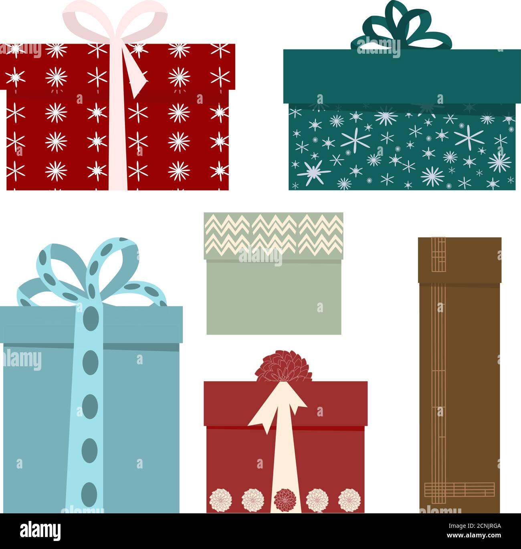 Ensemble de boîtes-cadeaux des fêtes. Illustration vectorielle pour l'affiche de vente et de shopping, carte de vacances Illustration de Vecteur