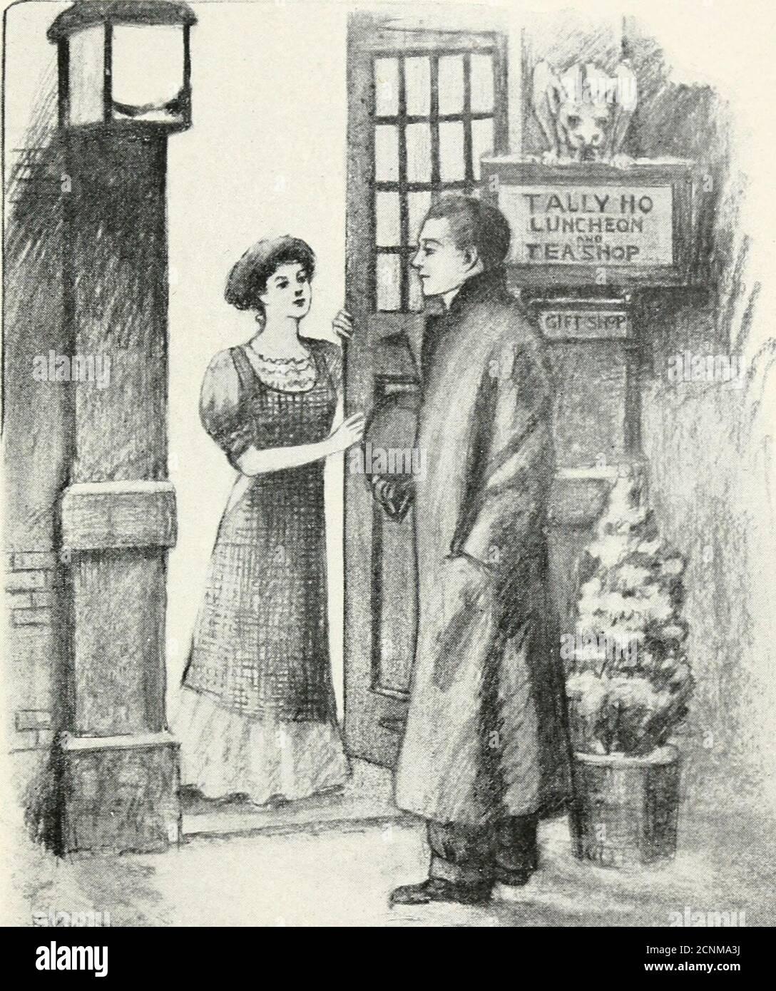 . Betty Wales & Co. : une histoire pour les filles . bbie Hildreth et non Betty, whohad compatissed à propos des soirées solitaires, a ouvert la porte de Young-Man-over-the-Fence, et après un figetrès bon-eveningtenu frognant dans le silence désapprouvant alors qu'il attendait pour lui expliquer lui-même. Je suis venu me poser la question, c'est-à-dire que je voulais me demander de passer une commande. Je suppose que je sordnthave venir ce soir, seulement j'étais dans un hurrypour faire régler les choses immédiatement. Miss est-elle la jeune femme qui s'assoit à son bureau ? ne la voit-elle pas ? Je ne sais pas, Babbie lui a dit collement.* vous ne pouvez pas dîner ici, 3^ou savoir.ce magasin de thé ferme à si Banque D'Images